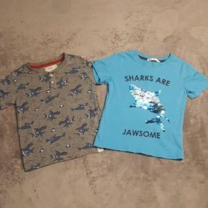 2 boys size 5 shark t shirts